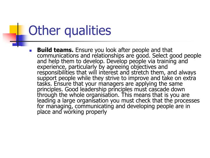 Other qualities