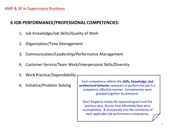 AMP & SP in Supervisory Positions