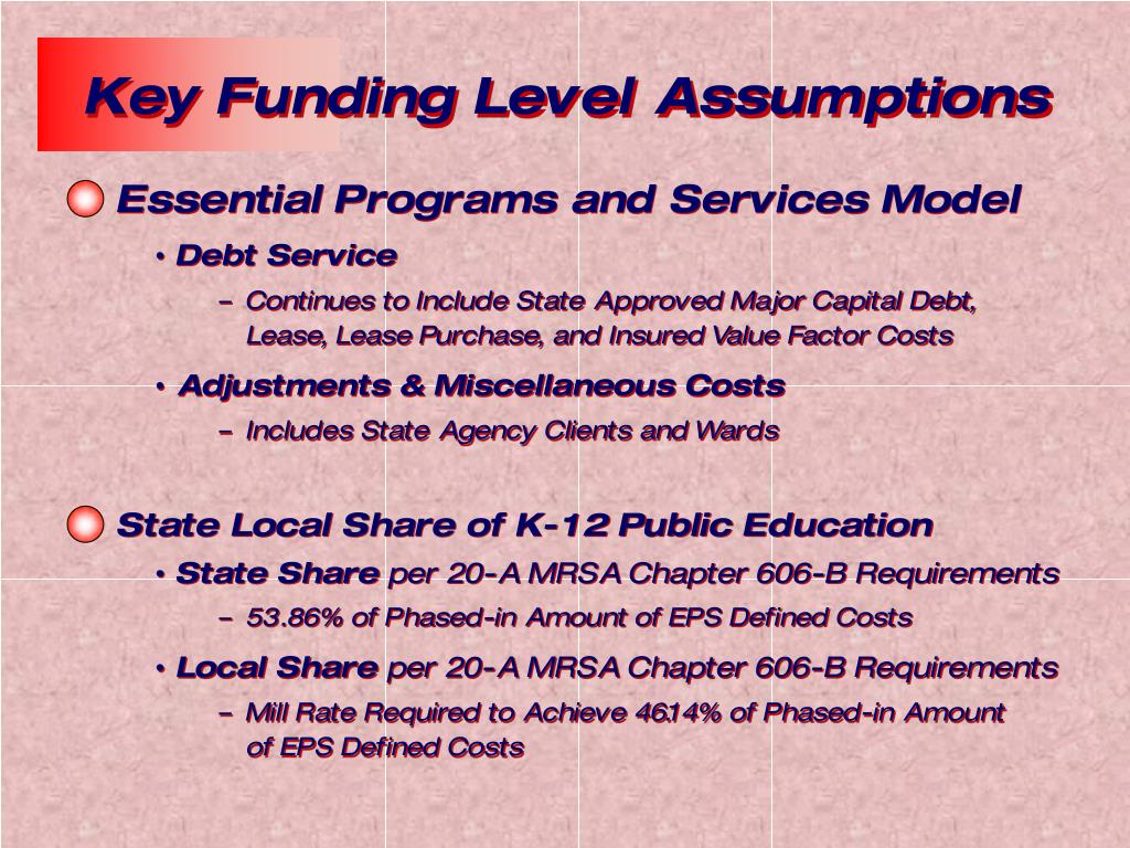Key Funding Level Assumptions