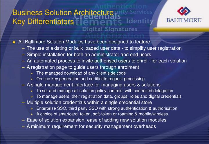 Business Solution Architecture Key Differentiators