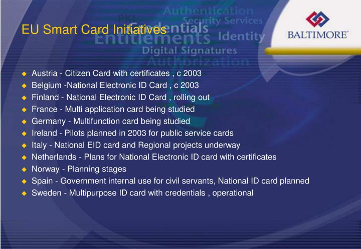 EU Smart Card Initiatives