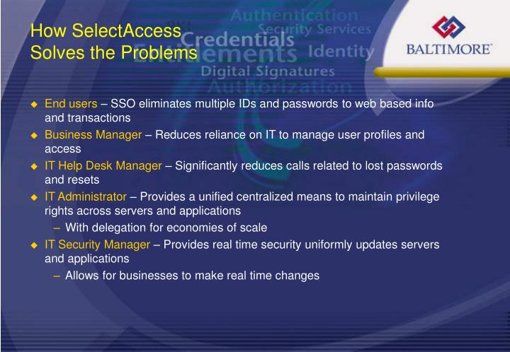 How SelectAccess Solves the Problems