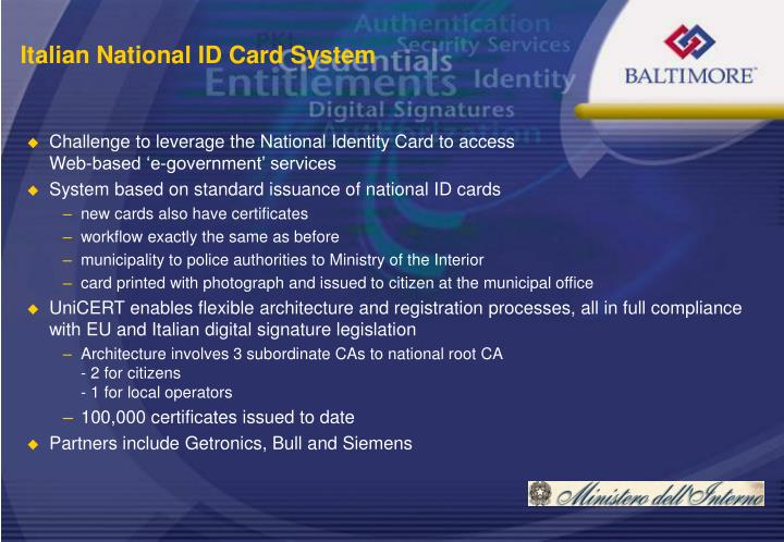 Challenge to leverage the National Identity Card to access