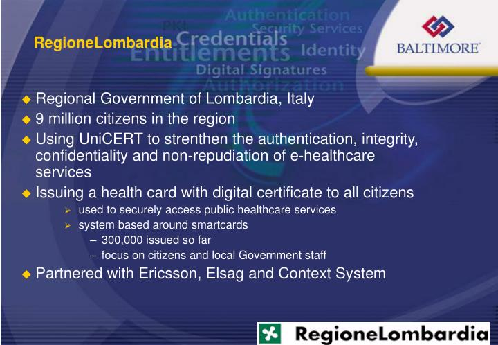 Regional Government of Lombardia, Italy