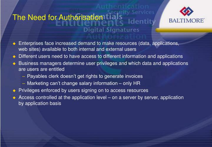 The Need for Authorisation