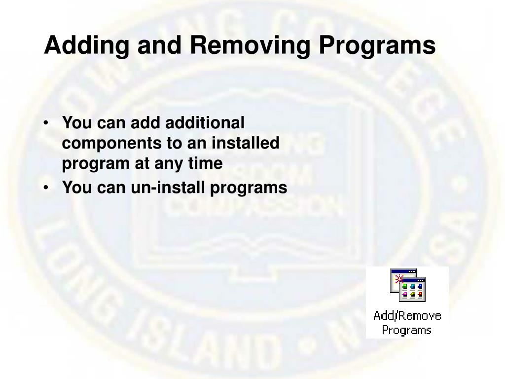 Adding and Removing Programs