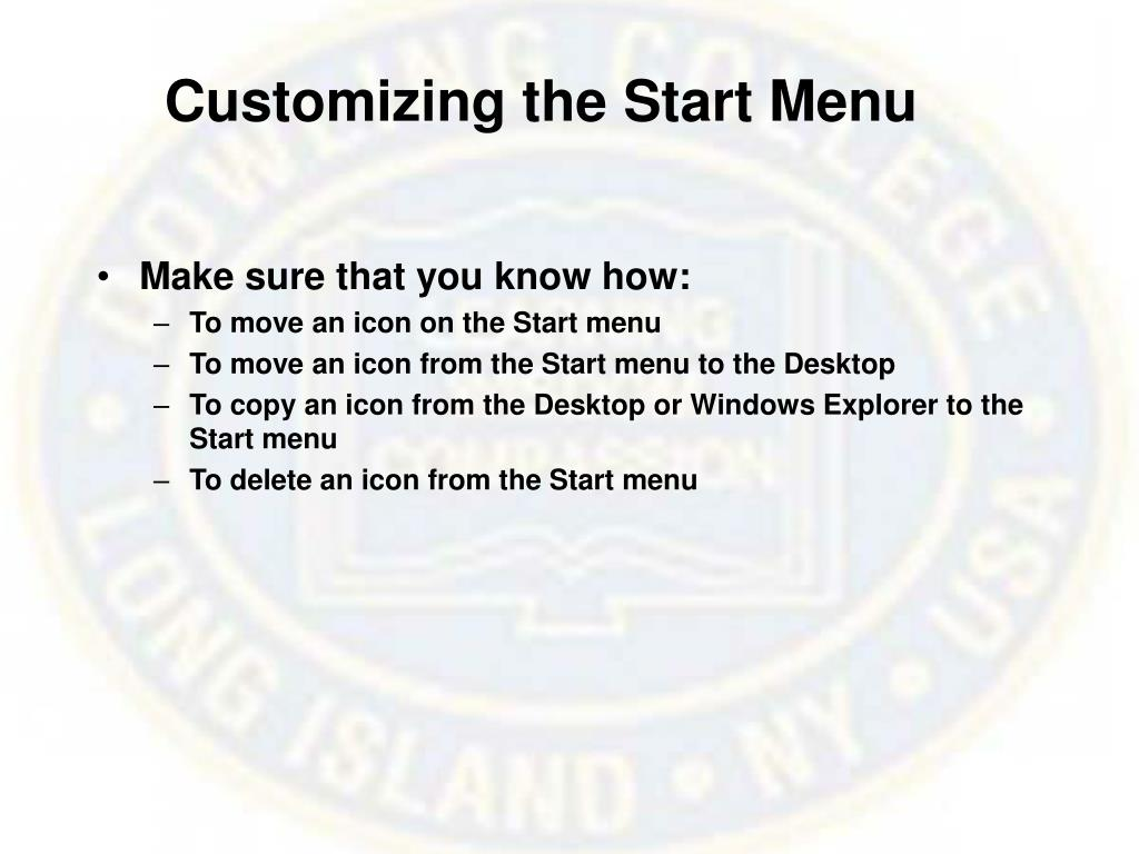 Customizing the Start Menu