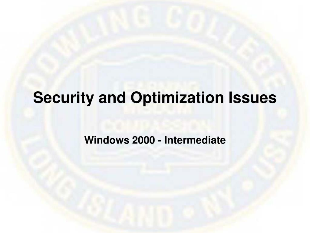 Security and Optimization Issues