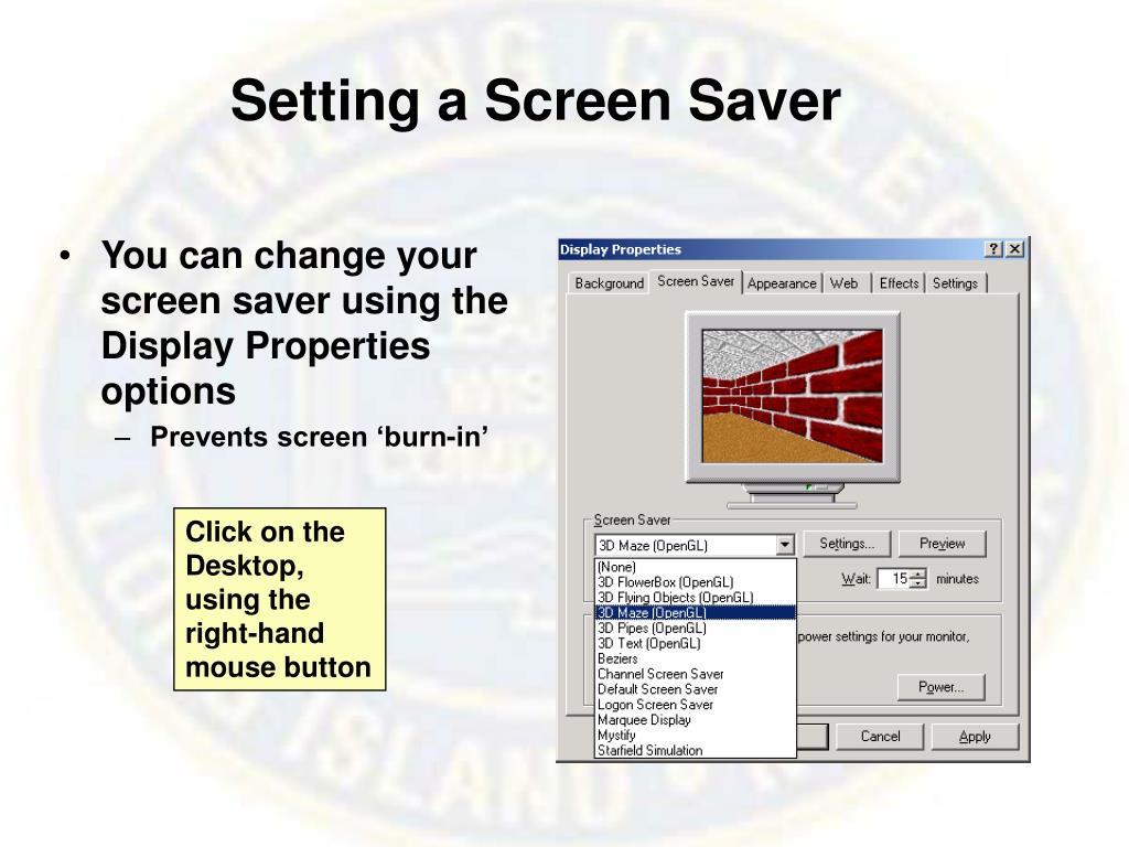 Setting a Screen Saver