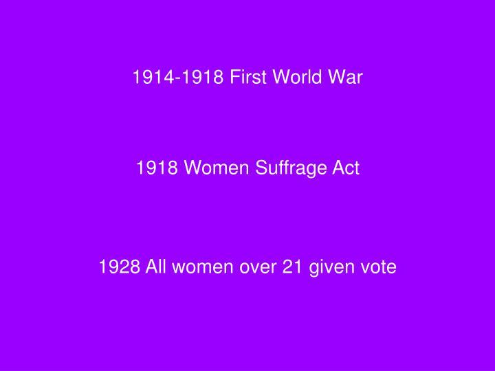 1914-1918 First World War