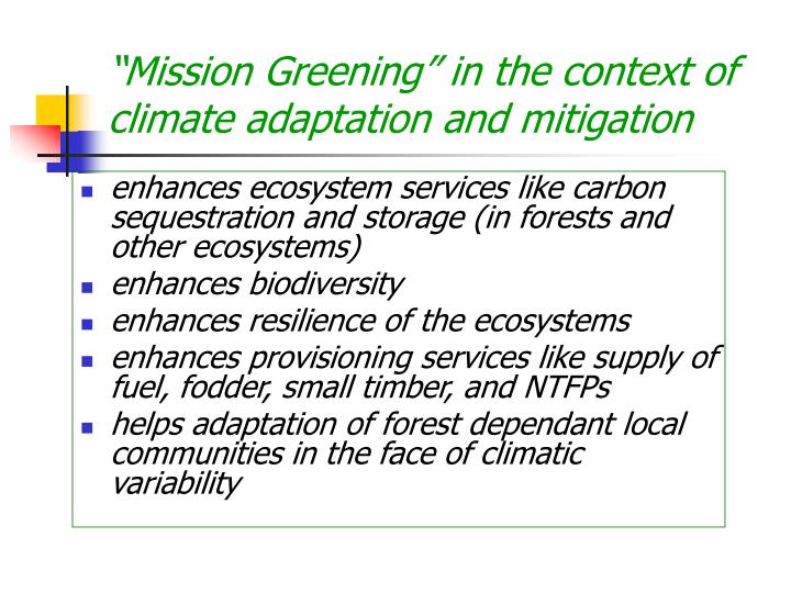 """Mission Greening"" in the context of climate adaptation and mitigation"