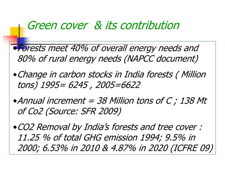 Green cover  & its contribution