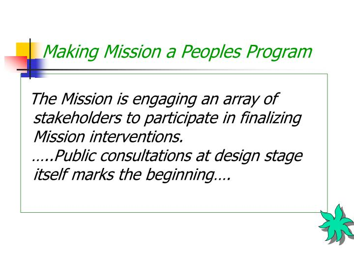 Making Mission a Peoples Program