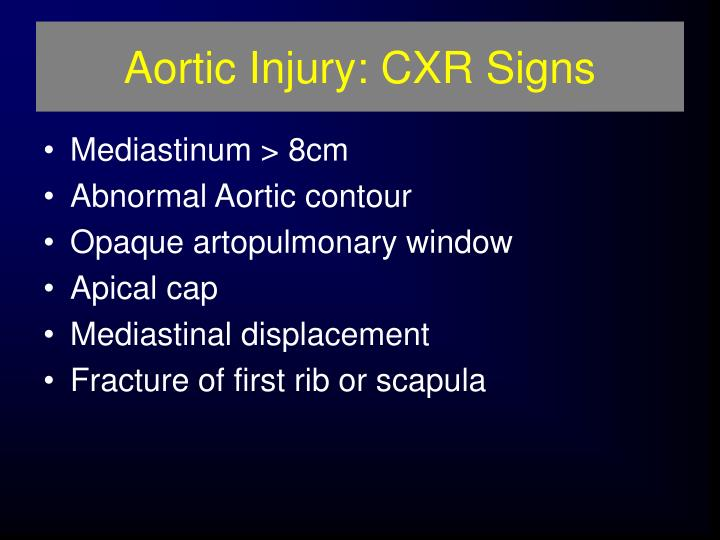 Aortic Injury: CXR Signs