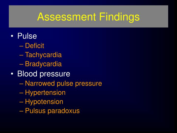 Assessment Findings