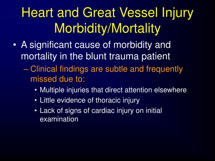 Heart and Great Vessel Injury Morbidity/Mortality