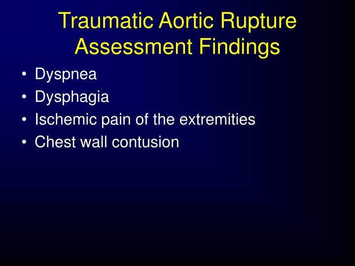 Traumatic Aortic Rupture Assessment Findings