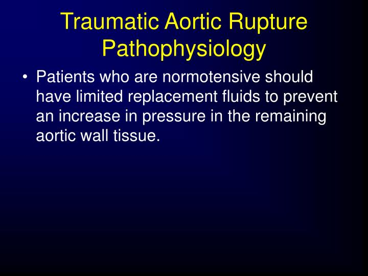 Traumatic Aortic Rupture Pathophysiology