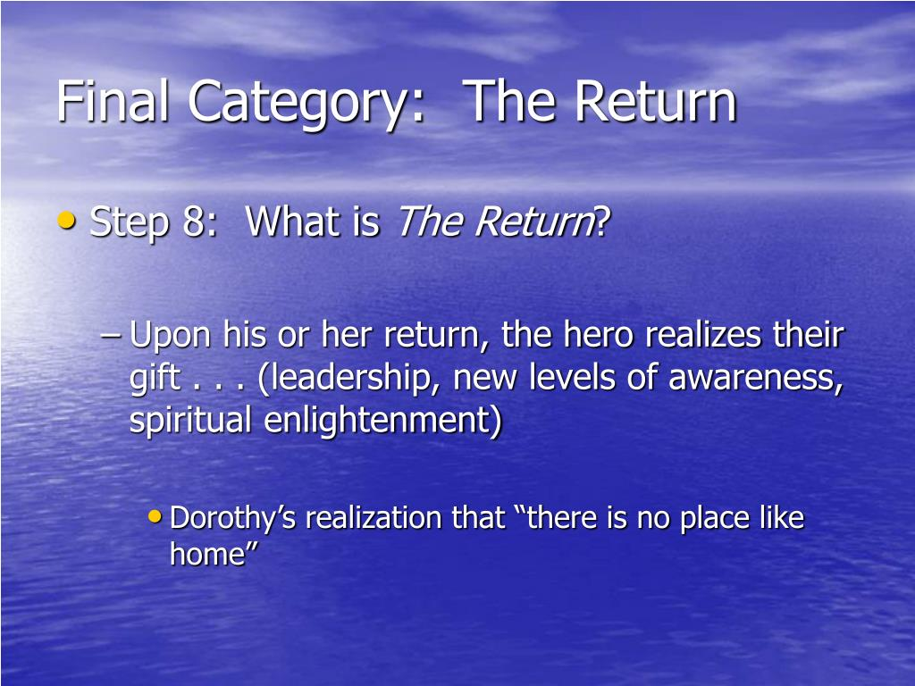 Final Category:  The Return