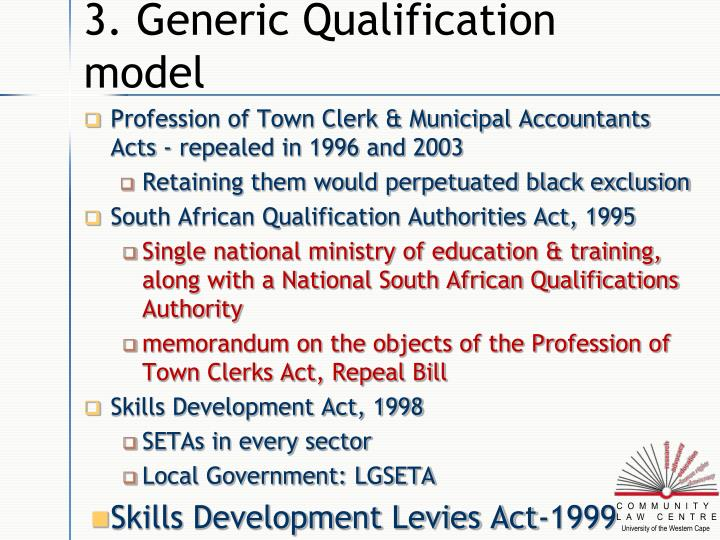3. Generic Qualification model