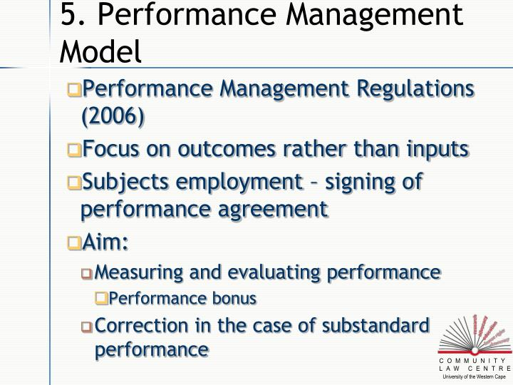 5. Performance Management Model
