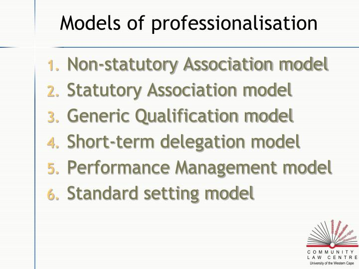 Models of professionalisation