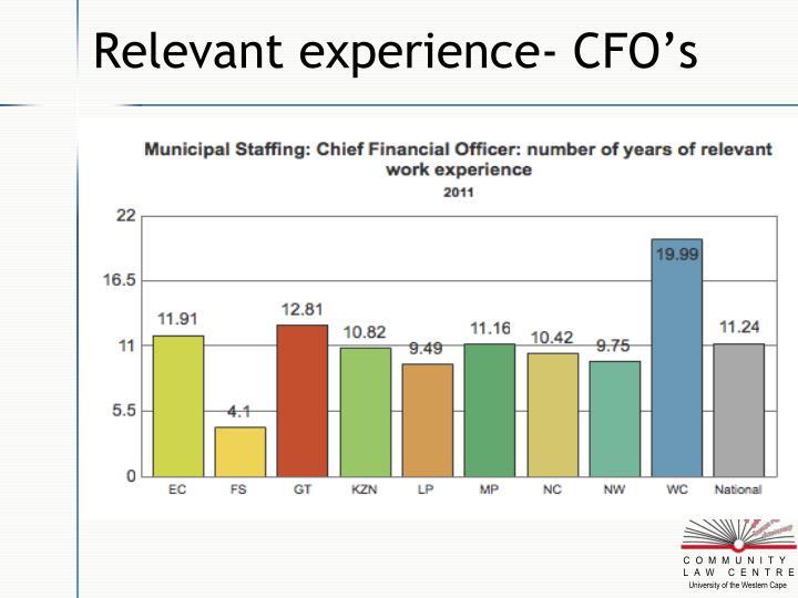 Relevant experience- CFO's