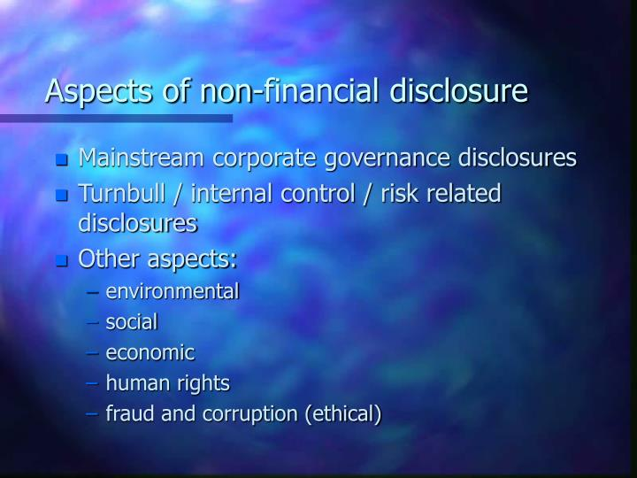 Aspects of non financial disclosure