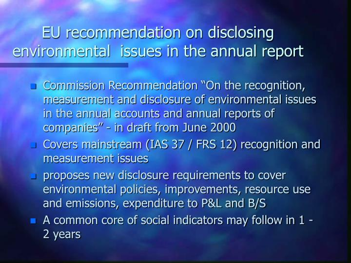 EU recommendation on disclosing environmental  issues in the annual report