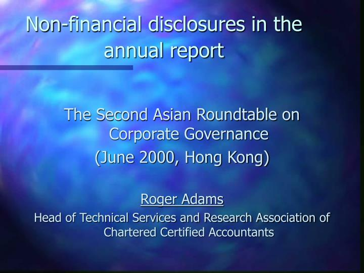 Non financial disclosures in the annual report