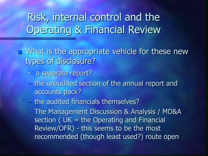 Risk, internal control and the Operating & Financial Review