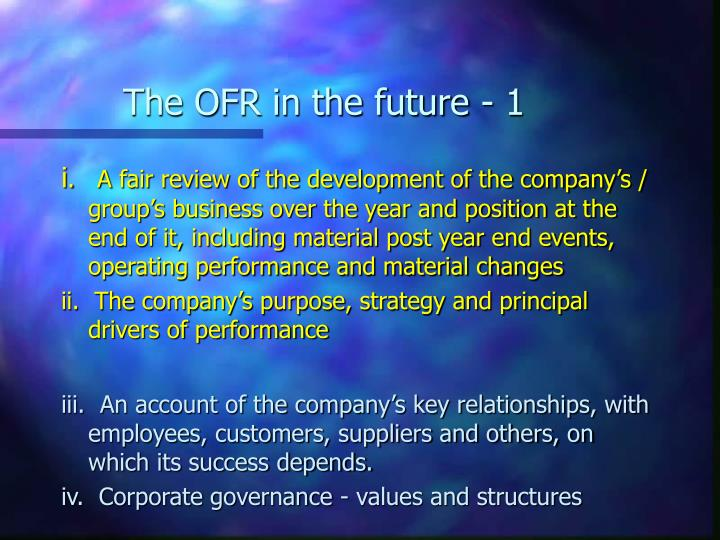 The OFR in the future - 1