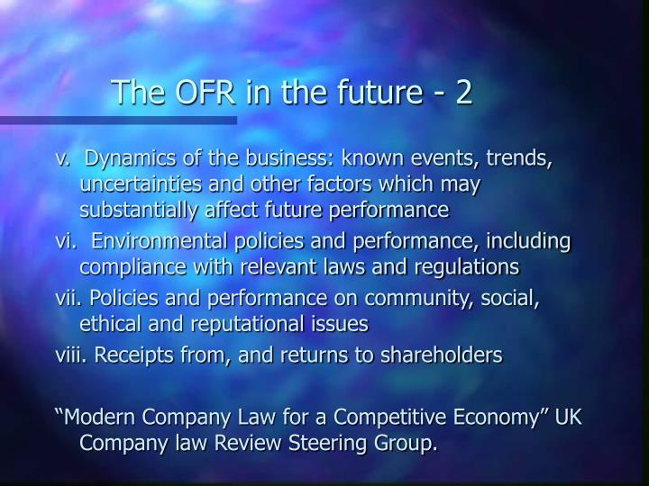 The OFR in the future - 2