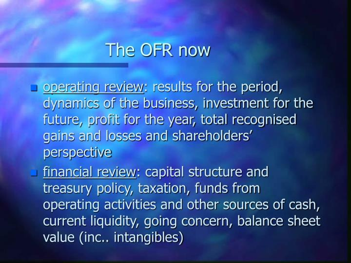 The OFR now