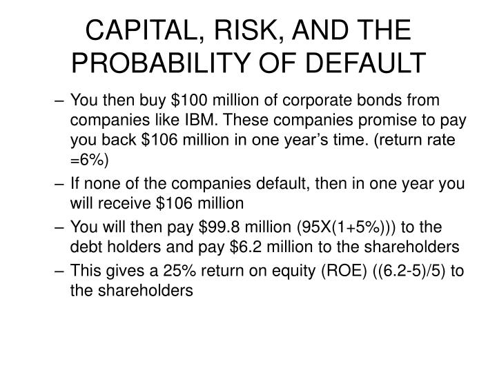 CAPITAL, RISK, AND THE PROBABILITY OF DEFAULT
