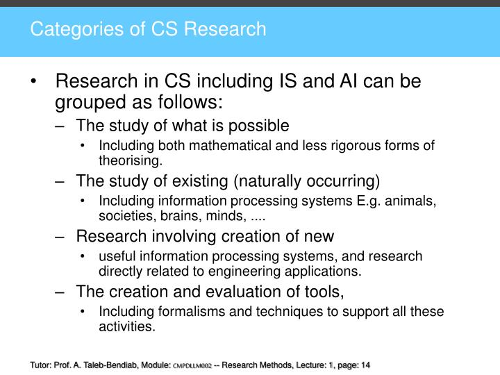 Categories of CS Research
