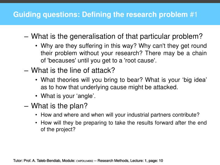 Guiding questions: Defining the research problem