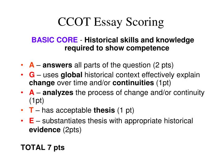 CCOT Essay Scoring