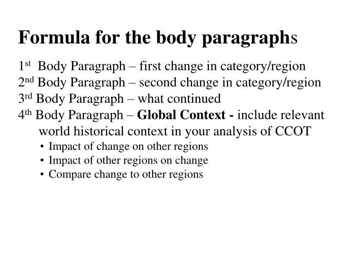 Formula for the body paragraph