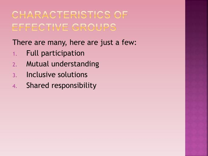 Characteristics of Effective Groups
