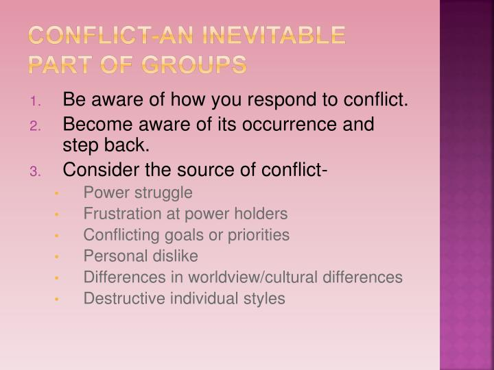 Conflict-an inevitable part of groups