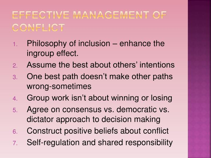 Effective management of conflict