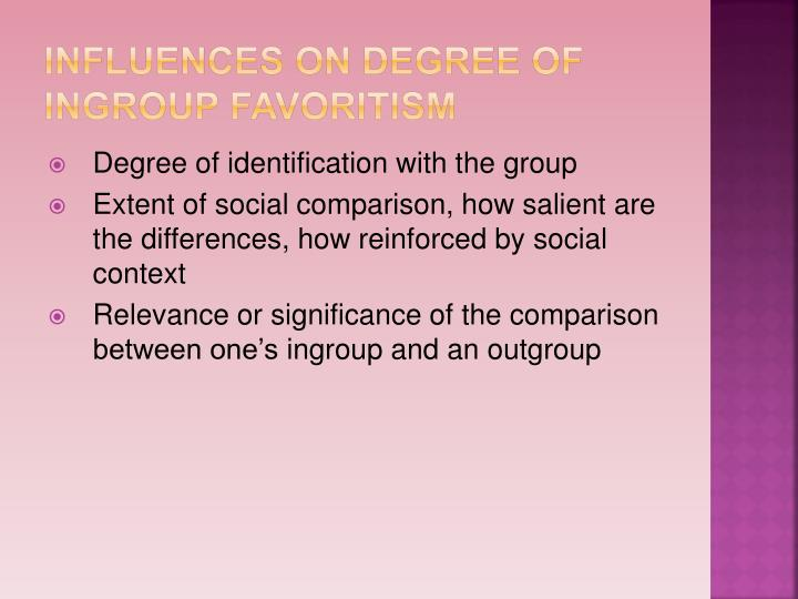 Influences on degree of