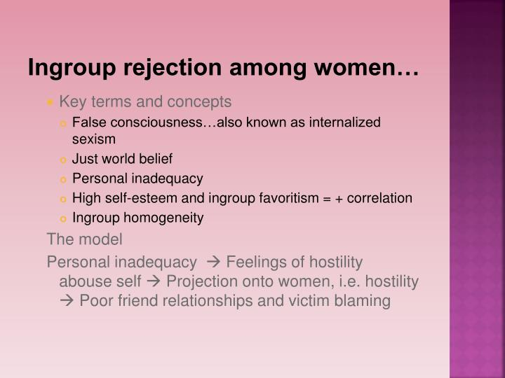 Ingroup rejection among women…