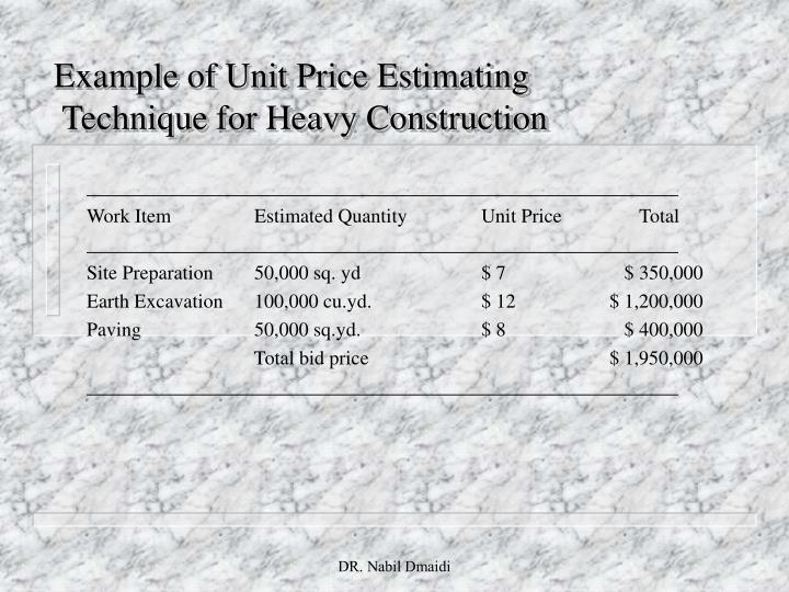 Example of Unit Price Estimating