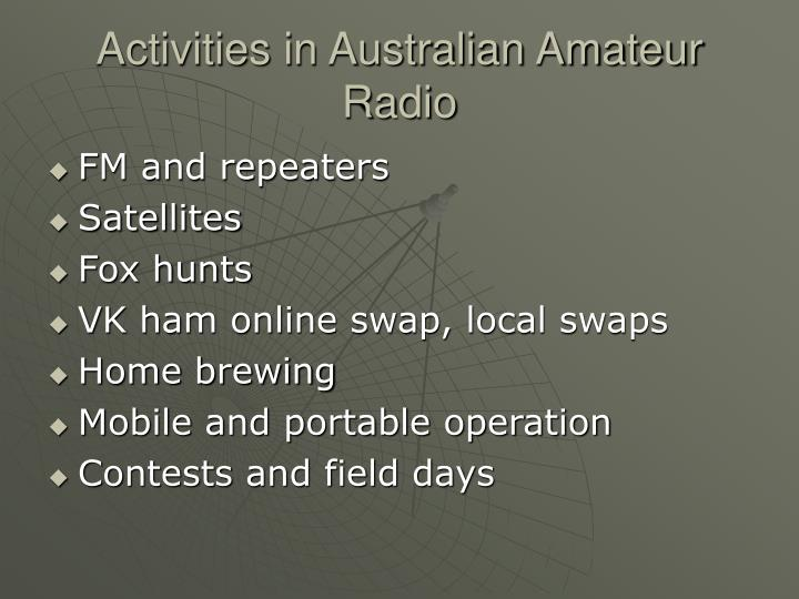 Activities in Australian Amateur Radio