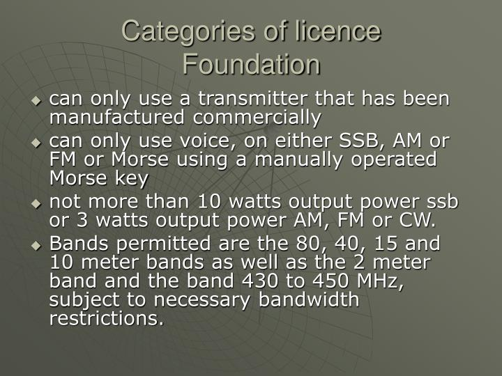 Categories of licence