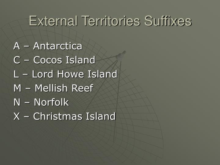 External Territories Suffixes