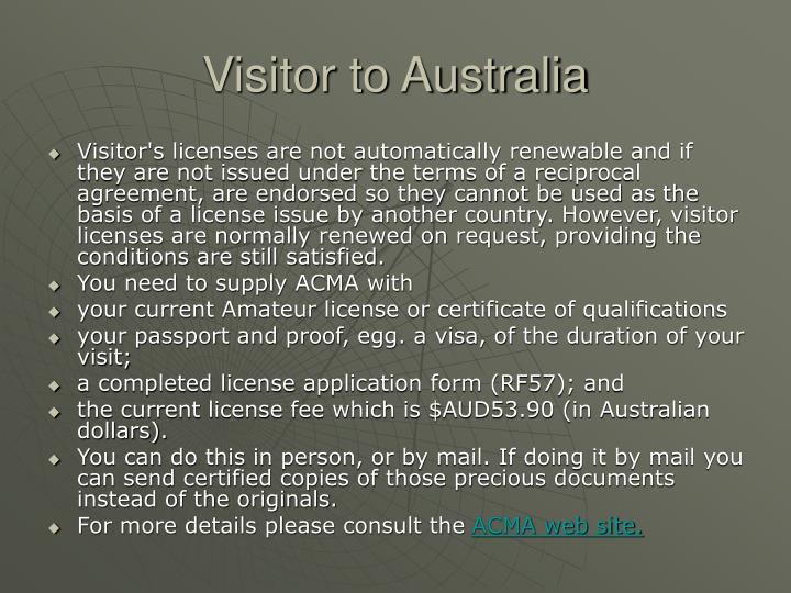 Visitor to Australia