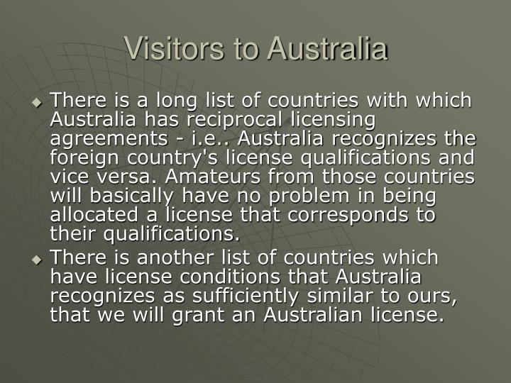 Visitors to Australia
